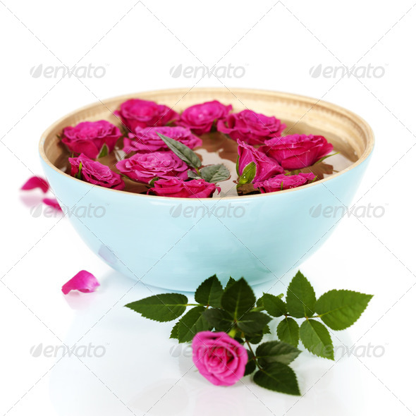 pink roses in bowl - Stock Photo - Images