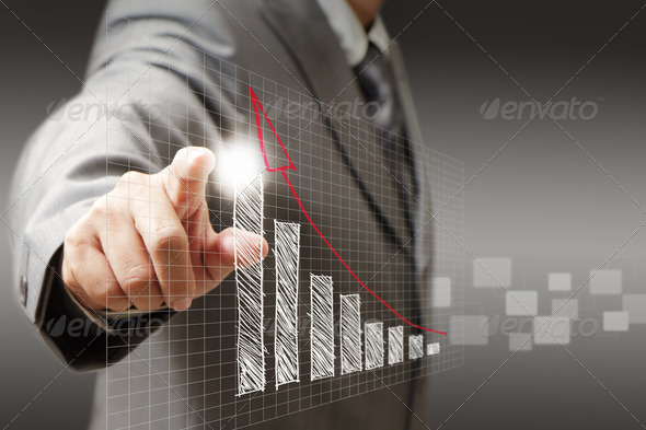 businessman hand touch virtual graph,chart, diagram - Stock Photo - Images