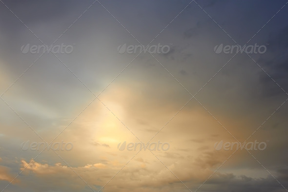 Sunlight breaks through the clouds - Stock Photo - Images