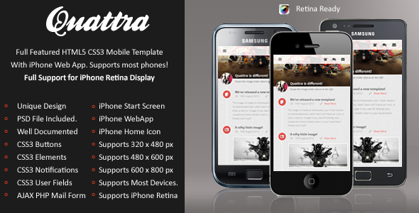 Quattra Mobile Retina | HTML5 & CSS3 And iWebApp