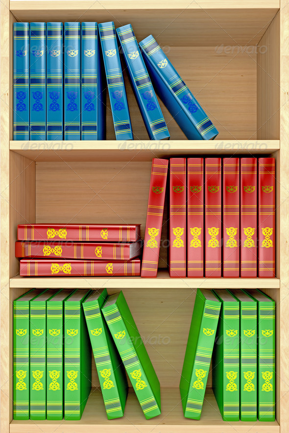3d wooden shelves background with books - Stock Photo - Images