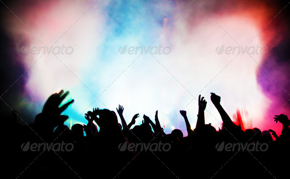 People on music concert, disco party. - Stock Photo - Images