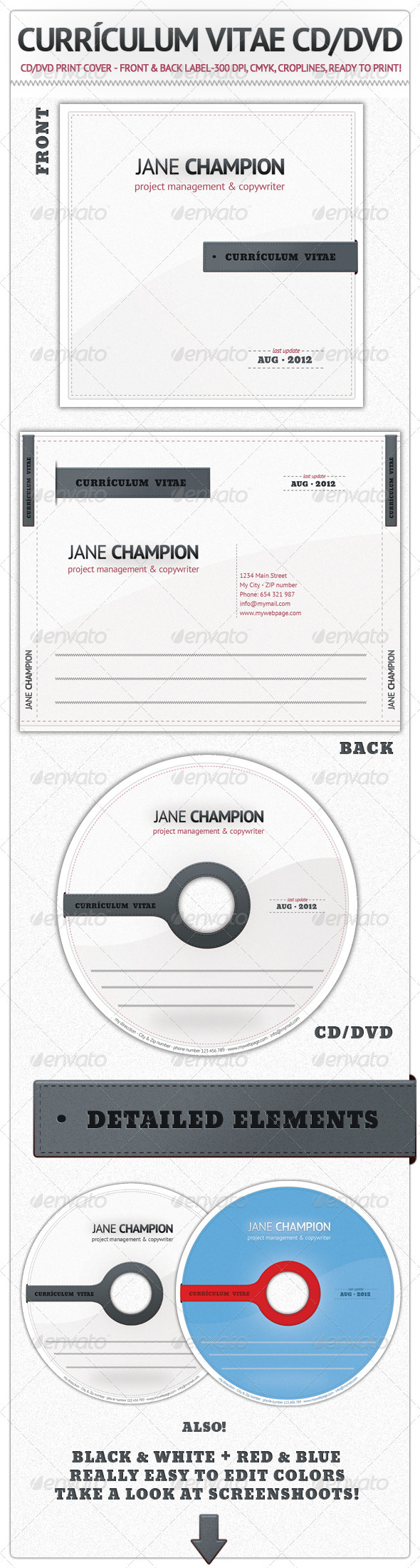 Curriculum Vitae CD / DVD - CD & DVD artwork Print Templates