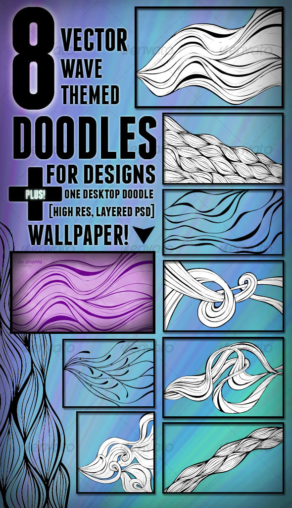 8 Vector Wave Themed Doodles - Decorative Vectors