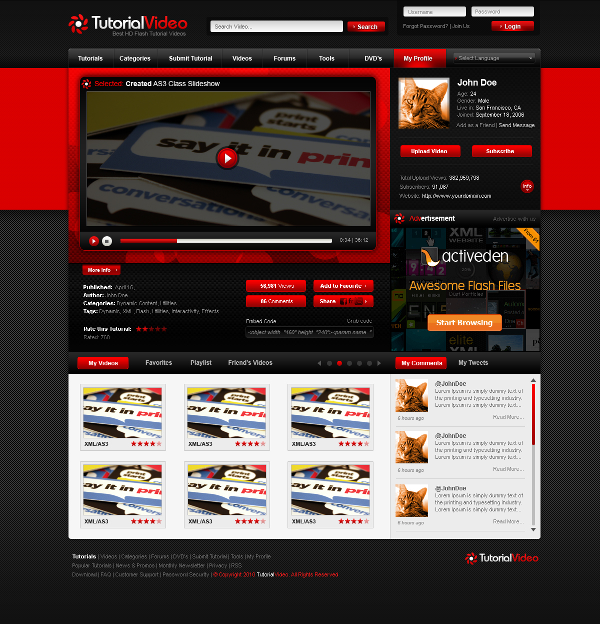Tutorial Flash Video: Blog, Video, Social Template