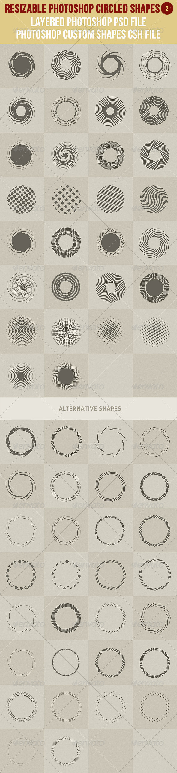 Photoshop Circled Shapes 2 - Symbols Shapes