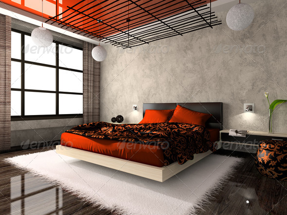 Luxurious interior of bedroom in red colour - Stock Photo - Images