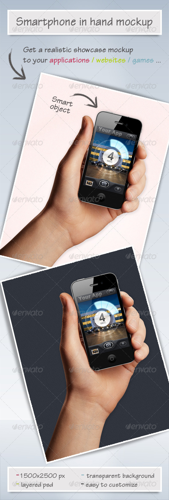 GraphicRiver Mobile Phone in Hand Mock-up 2827850