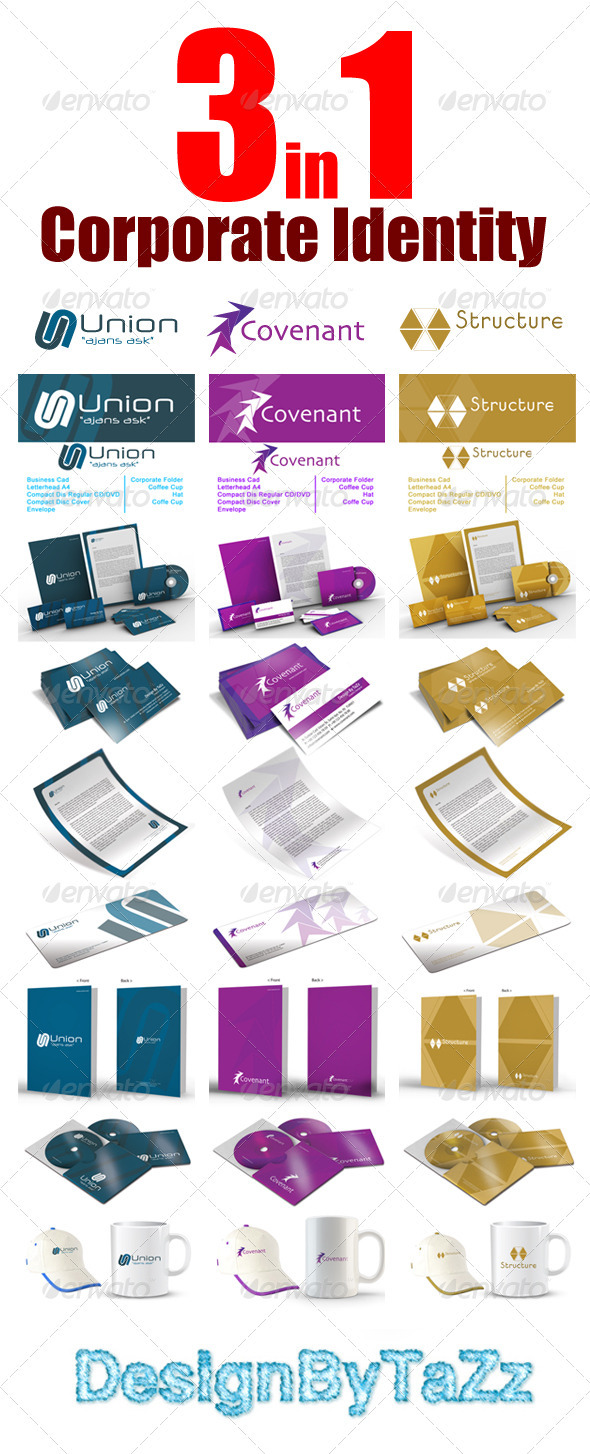 Corporate Startioney Package 3 in 1 - Stationery Print Templates