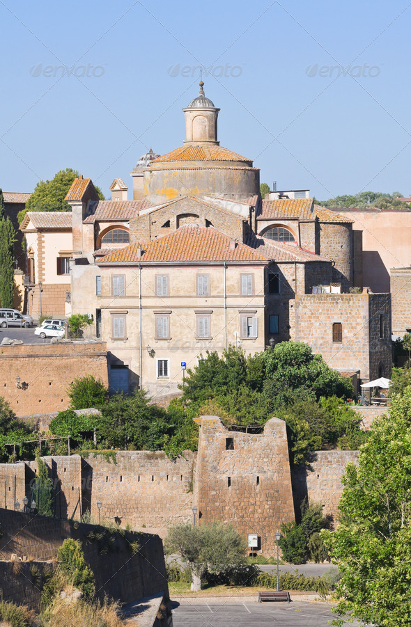 Panoramic view of Tuscania. Lazio. Italy. - Stock Photo - Images