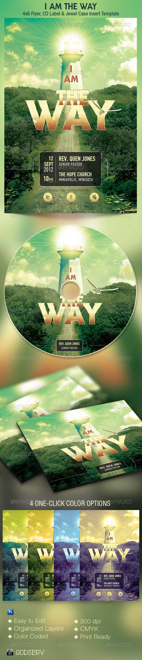 I Am The Way Church Flyer  and CD Template - Church Flyers