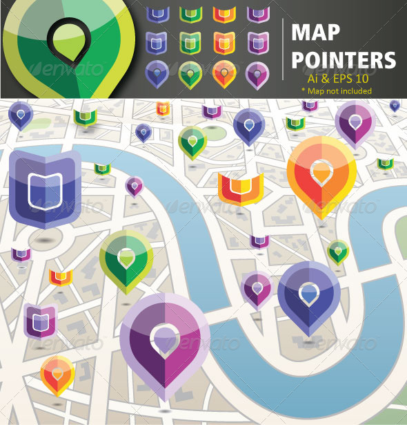 Map Pointers - Web Elements Vectors