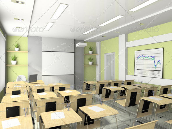 Interior of the lecture-room for seminars, studies, trainings or - Stock Photo - Images