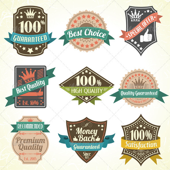 Quality and Guarantee Labels - Decorative Symbols Decorative