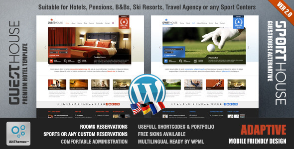Guesthouse - Hotel &amp; Sport Center 2in1 Premium Theme - Travel Retail
