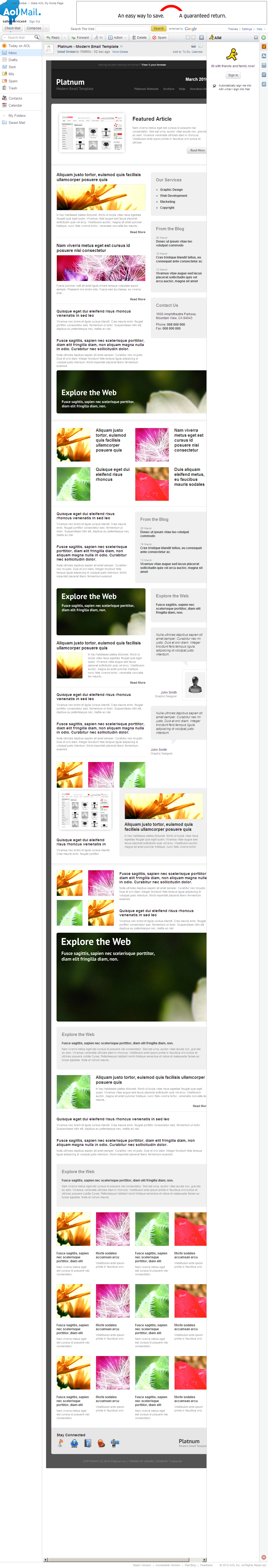Platnum Email Template, 6 Layouts, 8 Colors - AOL Mail - All elements listed.