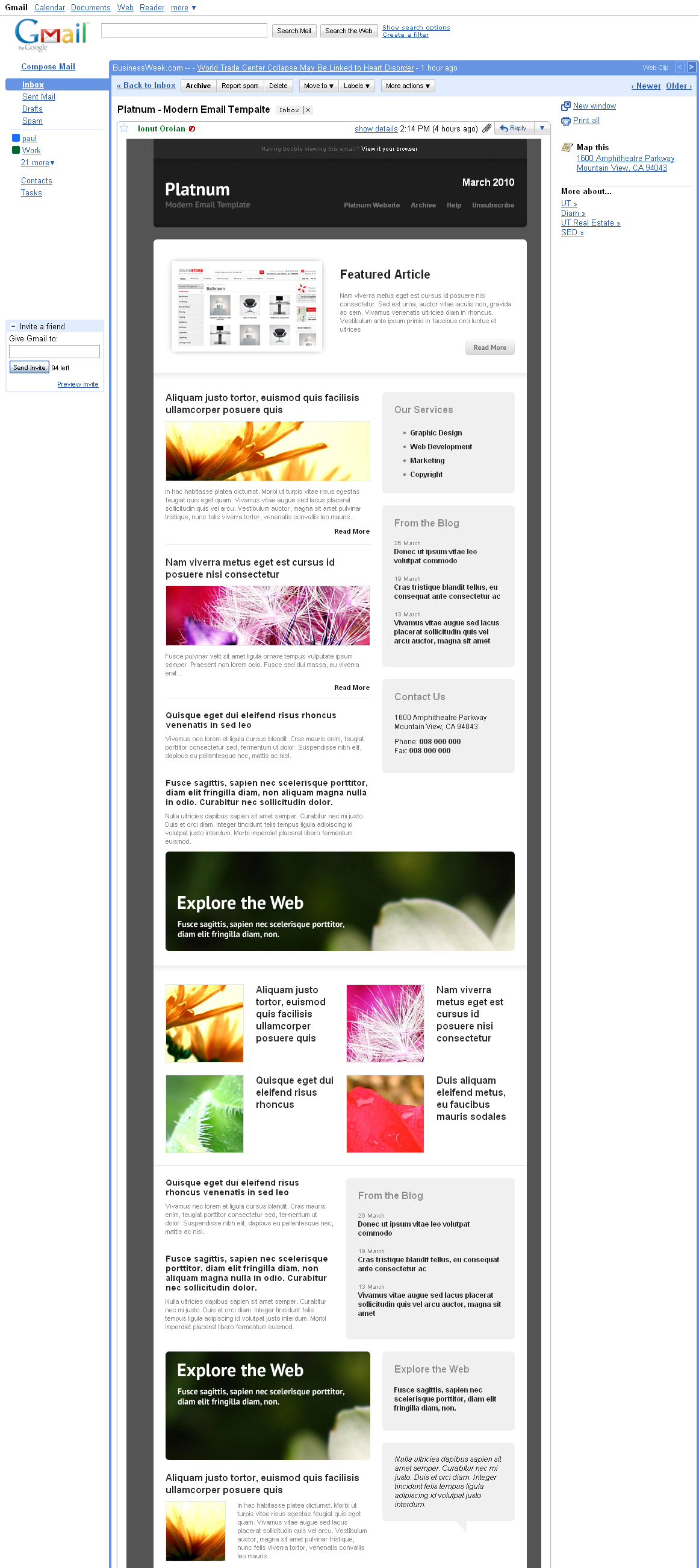 Platnum Email Template, 6 Layouts, 8 Colors - GMail - All elements listed.