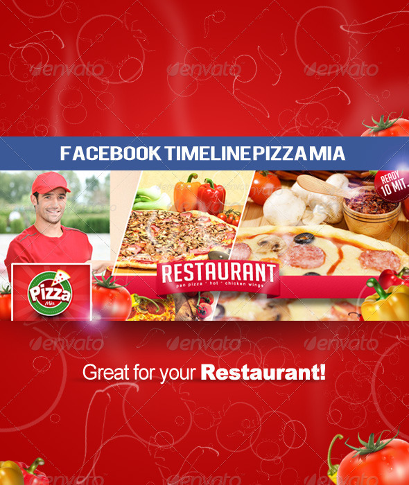 GraphicRiver Facebook Timeline Cover Pizza Mia 2833286