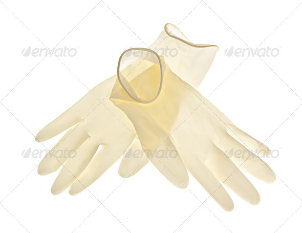 Latex gloves on white background - Stock Photo - Images