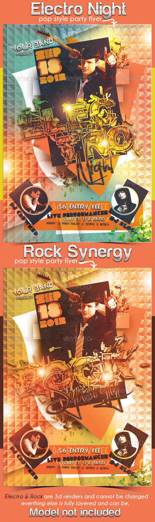 Electro Night and Rock Synergy Party Flyers  - Clubs & Parties Events