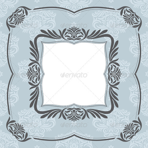 Retro Floral Frame - Borders Decorative