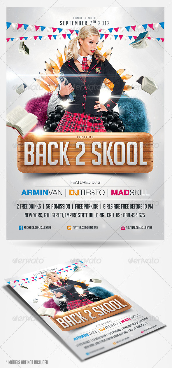 GraphicRiver Back to School Party Flyer Template 2861936