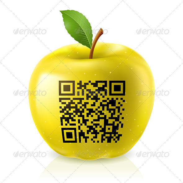 Yellow apple and QR Code - Patterns Decorative