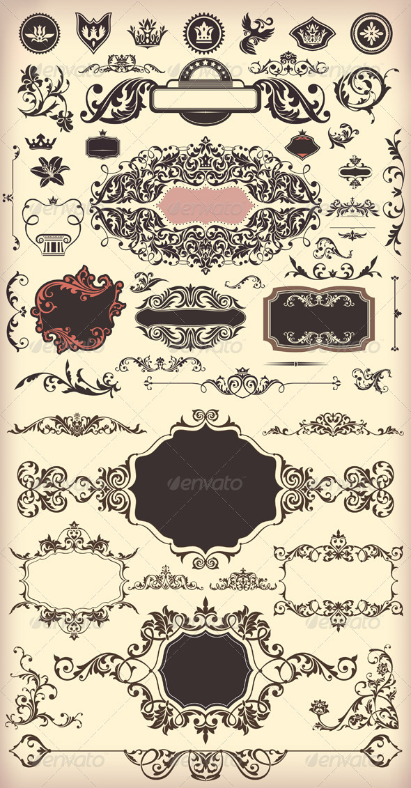 Floral Vintage Elements - Borders Decorative