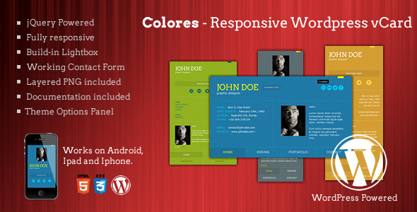 ThemeForest Colores Responsive Wordpress vCard 2862929