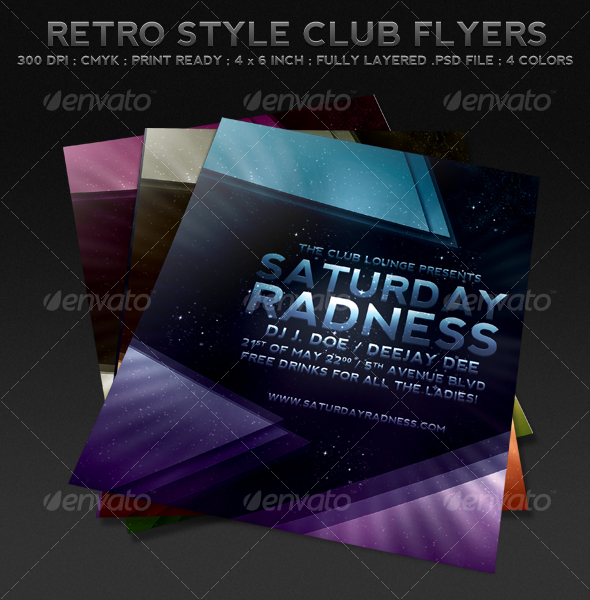 Retro Style Club Flyers - Clubs & Parties Events