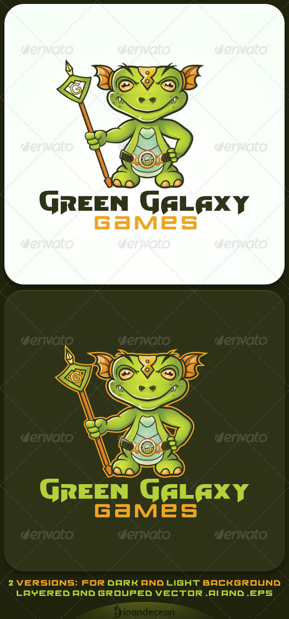 Green Galaxy Games Character Logo Template  - Humans Logo Templates