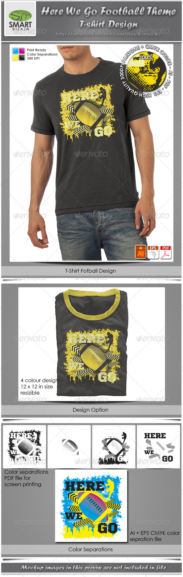 Here We Go Football Theme T-shirt Design - Sports & Teams T-Shirts