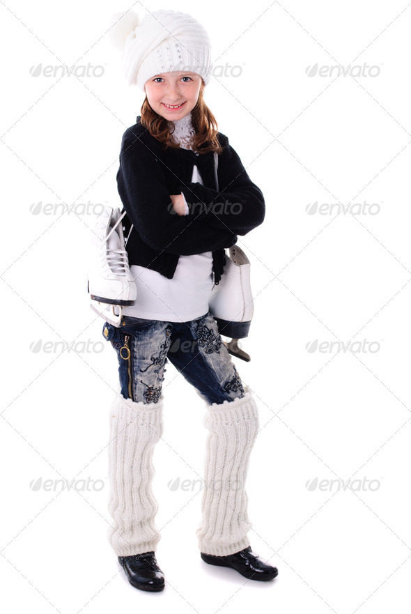 Girl with skates - Stock Photo - Images
