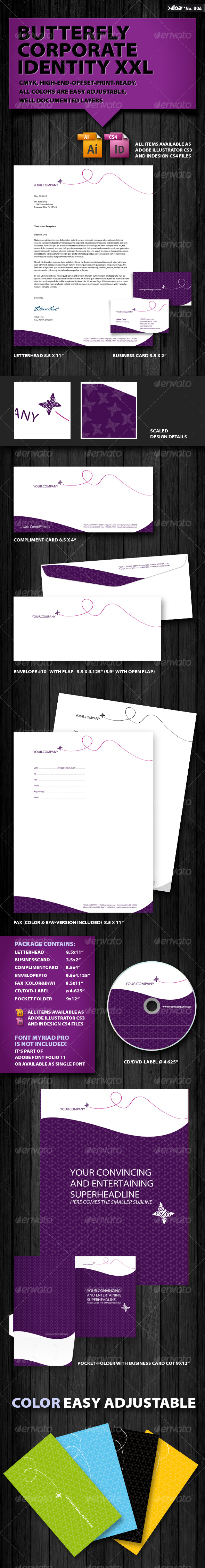 Butterfly Corporate Identity XXL - Stationery Print Templates