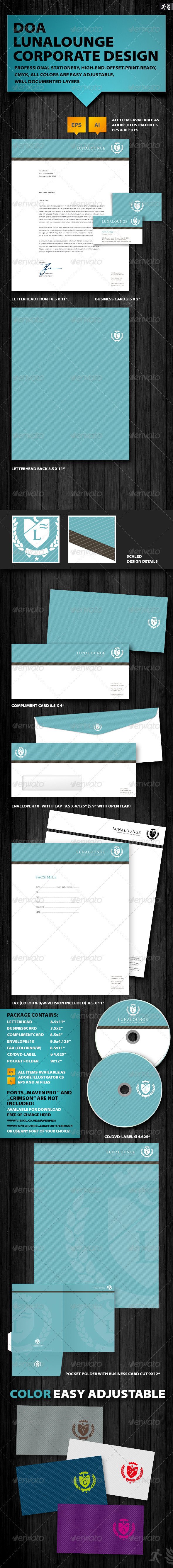 DOA Lunalounge Corporate Design - Stationery Print Templates