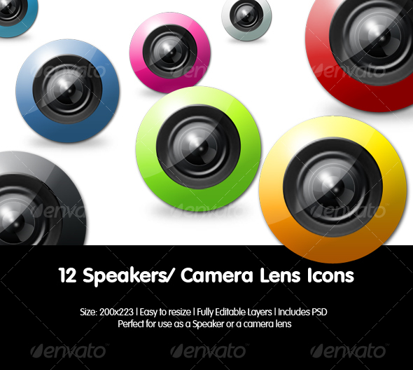 GraphicRiver Camera Lens Icons Speaker Icons 102926