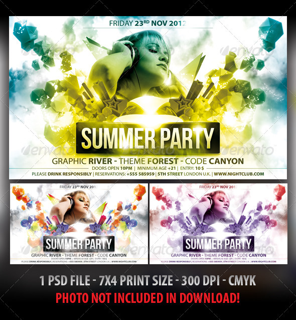 Summer Colors Party Flyer - Clubs &amp; Parties Events