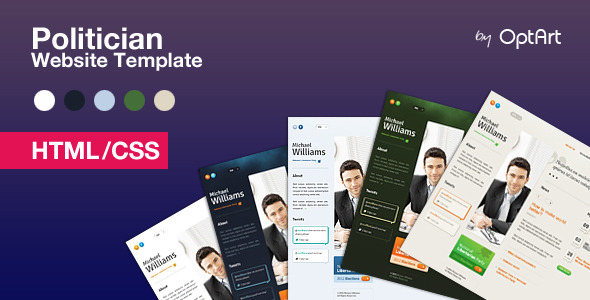 Politician HTML - template for politicians - Politician template comes in 5 color sets
