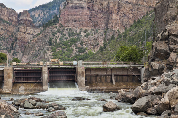 Shoshonee Dam on Colorado RIver - Stock Photo - Images