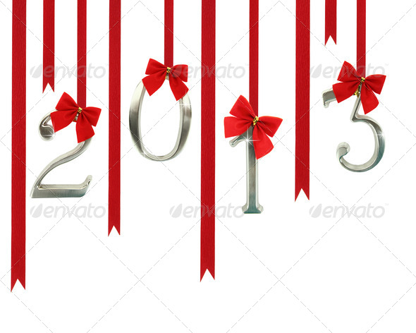 2013 calendar ornaments hanging on red ribbons - Stock Photo - Images
