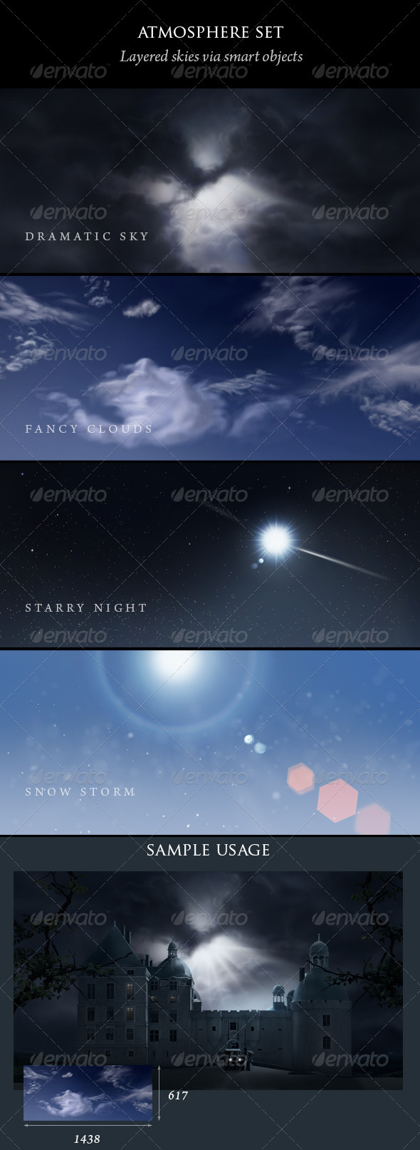 Sky, clouds, snow, stars and sun - Backgrounds Graphics