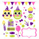 Owl birthday party design elements set - GraphicRiver Item for Sale