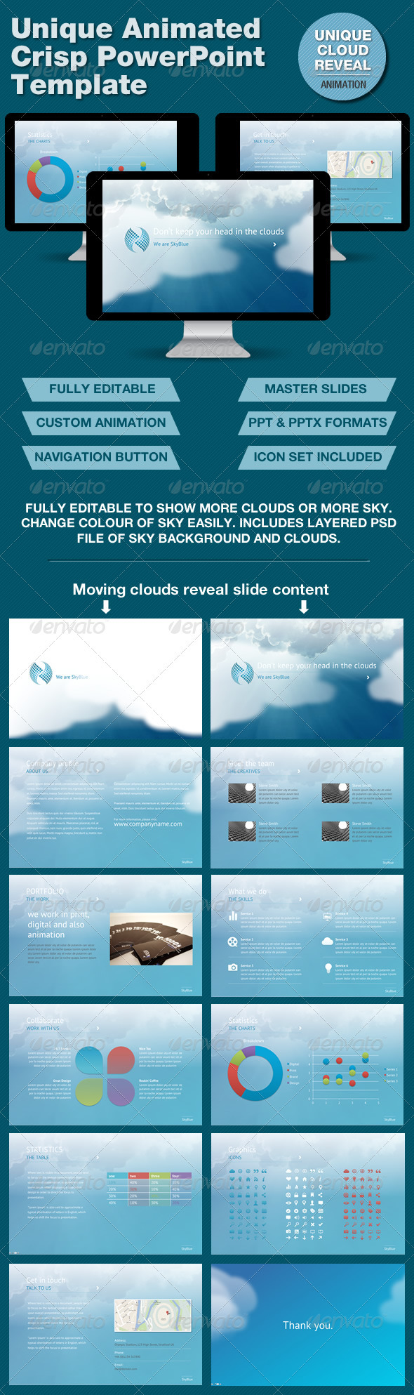 SkyBlue PowerPoint Template with Unique Animation - Powerpoint Templates Presentation Templates