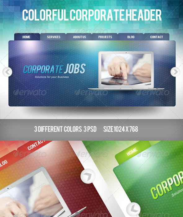 Colorful Corporate Header - Sliders & Features Web Elements