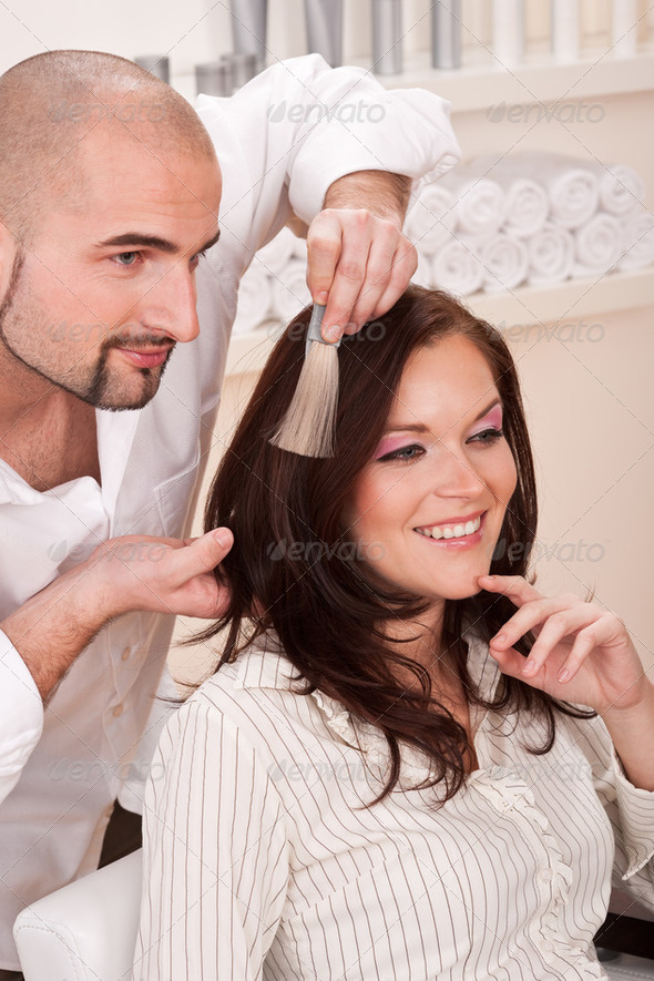 Professional Hairdresser : Professional Hairdresser Choose Hair Dye Color At Salon Stock Photo by ...