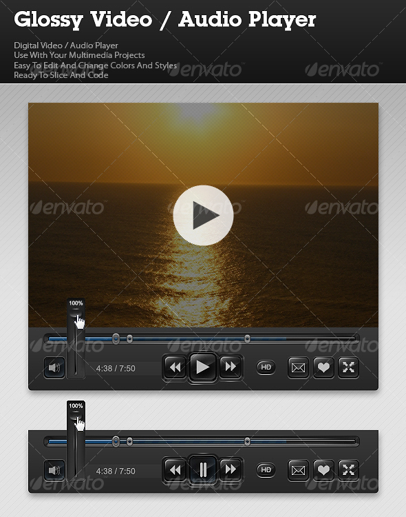 GraphicRiver Glossy Video Audio Player 103361