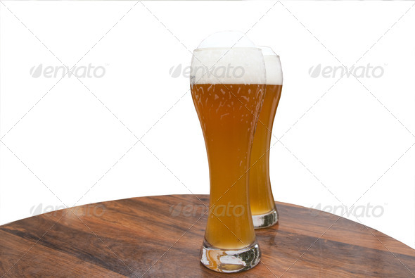 Two glasses of weizen beer - Stock Photo - Images
