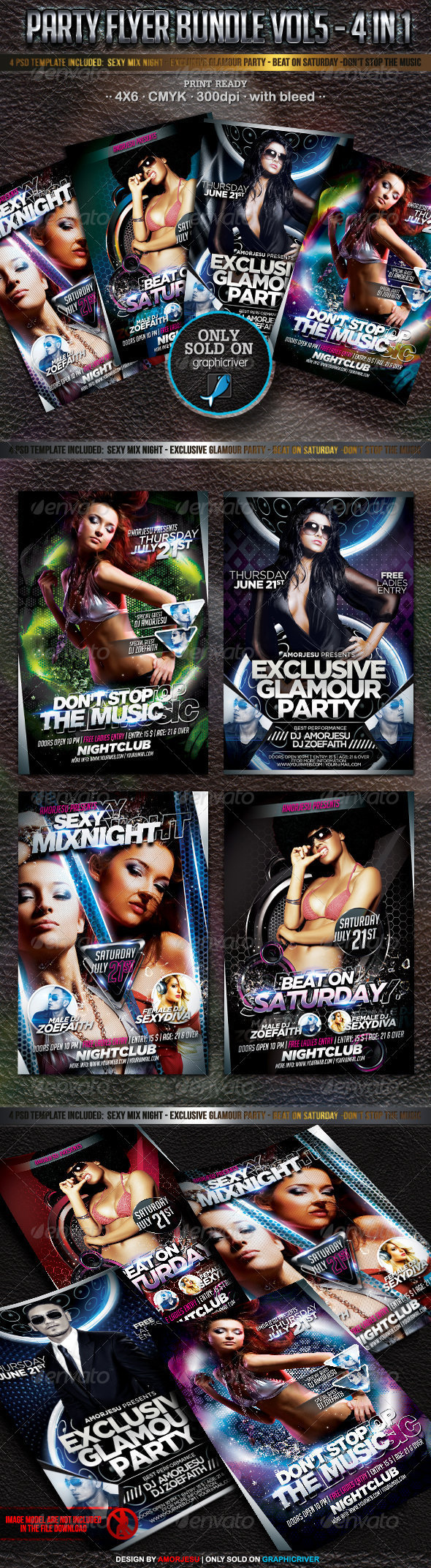 Party Flyer Bundle Vol6 - 4 in 1 - Events Flyers