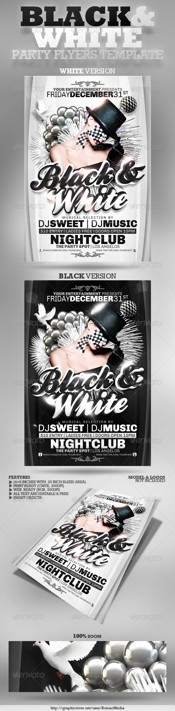 Black and White Party Flyers - Clubs & Parties Events