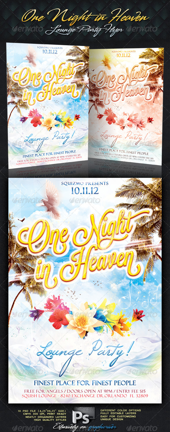 One Night In Heaven Lounge Party Flyer - Clubs &amp; Parties Events
